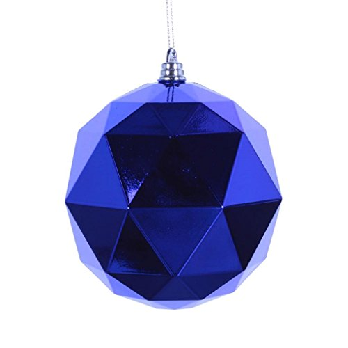 Vickerman 466803 – 4.75″ Blue Shiny Geometric Ball Christmas Tree Ornament (4 pack) (M177302DS)