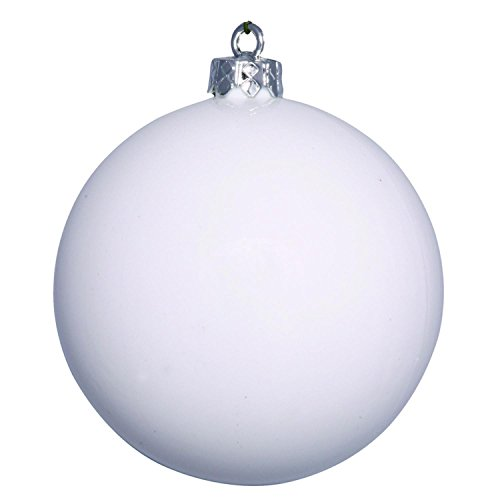 Vickerman Shiny White UV Resistant Commercial Drilled Shatterproof Christmas Ball Ornament, 2.75″