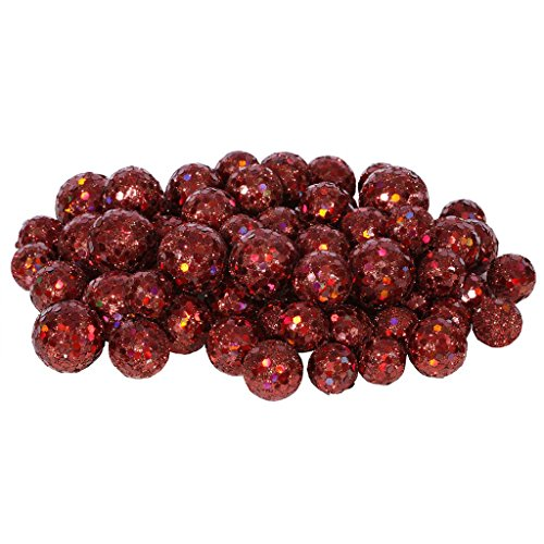 Vickerman 60ct Red Wine Sequin and Glitter Christmas Ball Decorations 0.8″ – 1.25″