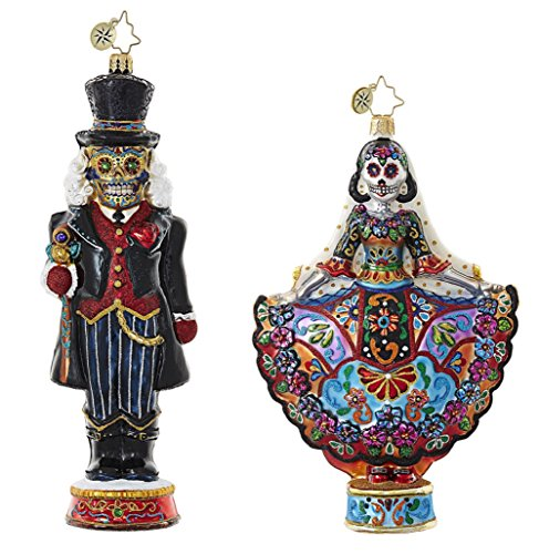 Christopher Radko Day Of The Dead Sugar Skull Themed Figurine Glass Christmas Ornaments – Bundle Includes One La Novia Muerta & One Dia De Los Cracker Ornaments
