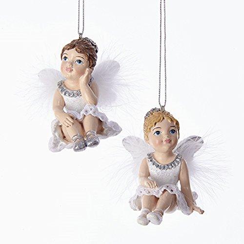 Kurt Adler White & Silver Sitting Little Angel Ornaments Set of 2