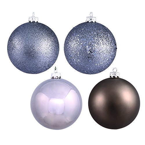 Vickerman 4-Finish Assorted Plastic Ornament Set & Seamless Shatterproof Christmas Ball Ornaments, Assorted 4 Per Box, 4.75″, Pewter