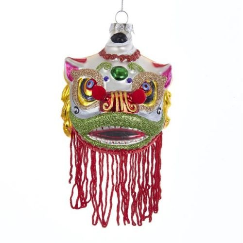 Kurt Adler 3.25″ Glass Chinese Lion Mask Ornament