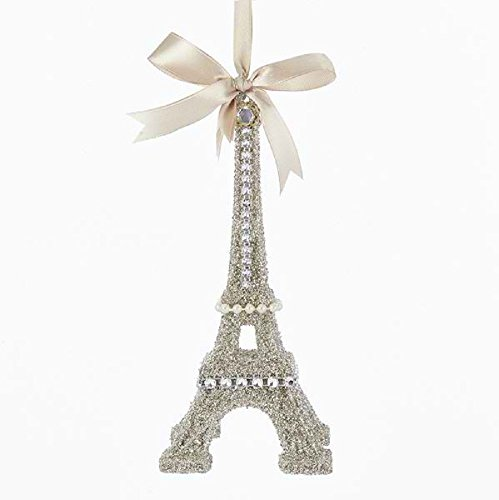 Kurt Adler VINTAGE GLAMOUR PLATINUM GLASS GLITTER EIFFEL TOWER ORNAMENT