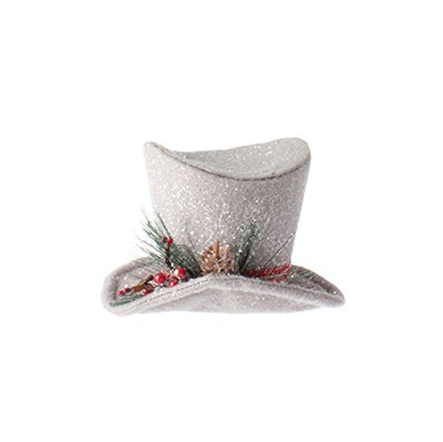 RAZ Imports – Winterberry – 7 Inch Glittered Gray Top Hat Decorative Piece
