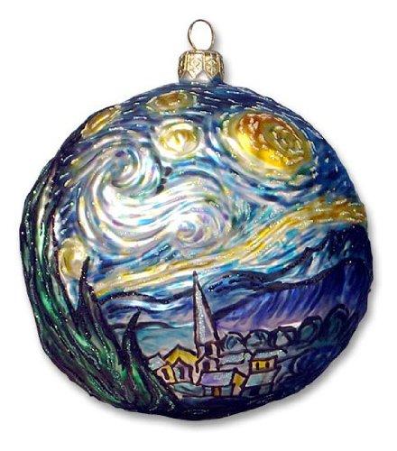 Van Gogh Starry Night Polish Glass Christmas Ornament