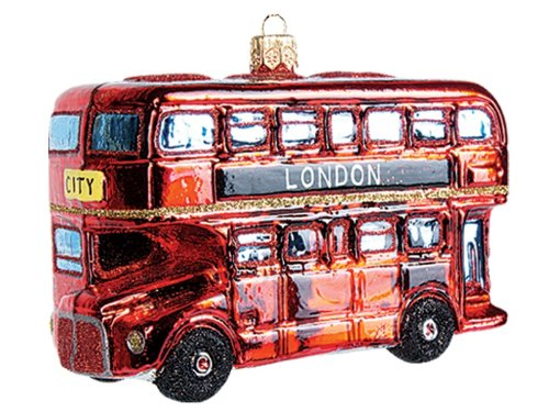 London Double Decker Bus Polish Glass Christmas Ornament England Tree Decoration