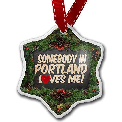 Christmas Ornament Somebody in Portland Loves me, Oregon – Porcelain Ornament, 3-Inch