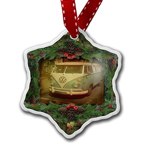 Christmas Ornament VW Bus surfbus 70 – Porcelain Ornament, 3-Inch