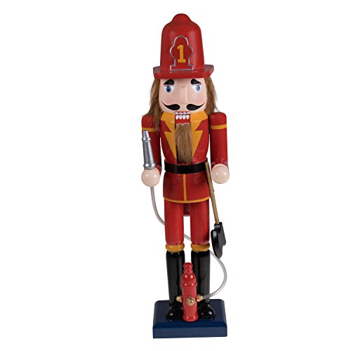 "Fireman Nutcracker by Clever Creations | Festive Christmas Decor | Red and Yellow Painted Uniform | 100% Real Wood Collectible Nutcracker | Equipped with Hydrant with Plastic Hose | 15"" Tall"