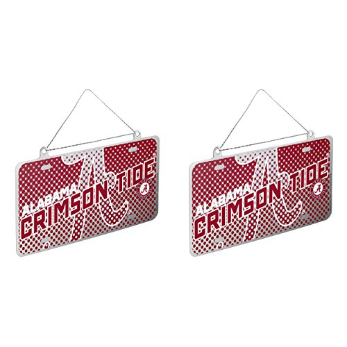 NCAA Alabama Crimson Tide Metal License Plate Christmas Ornament Bundle 2 Pack By Forever Collectibles