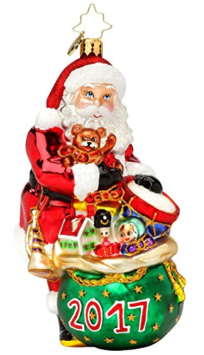 Christopher Radko 2017 Dated Bounty for the Year Santa Glass Christmas Ornament
