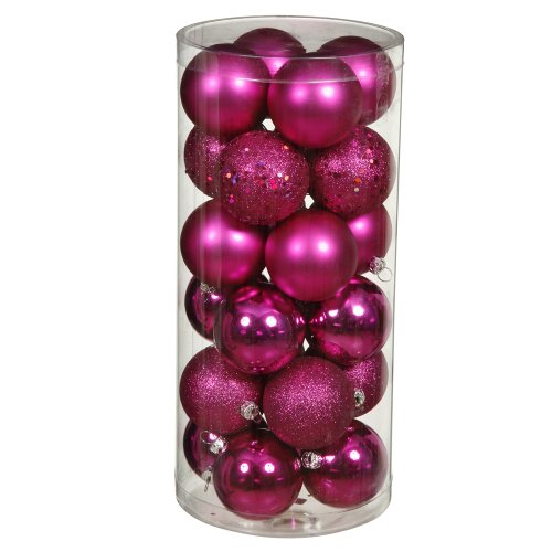 Vickerman Shatterproof Assorted Ball Ornaments Featuring Shiny, Matte, Sequin, and Glitter Finishes, 96 per Box, 1.6″, Magenta