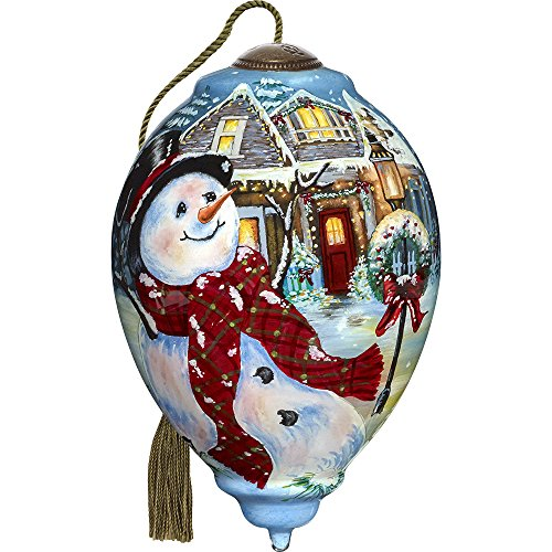Precious Moments, Ne'Qwa Art 7171124 Hand Painted Blown Glass Standard Princess Shaped Ornament of An Old Fashioned Christmas Scene, 5.5-inches