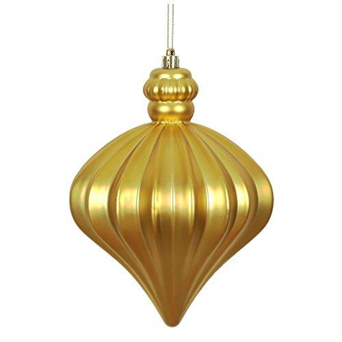 Vickerman 478653 – 6″ Gold Matte Onion Drop Christmas Tree Ornament (4 pack) (N175868D)