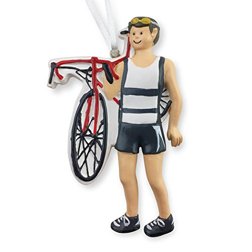 Triathlete Christmas Ornament | Triathlon Ornaments by Gone For a Run | Guy | Brunette