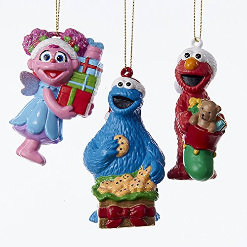 Kurt Adler 3 Assorted Sesame Street Multiples of Elmo, Cookie Monster And Abby Blow Mold Christmas Ornaments