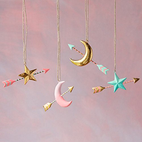 Arrow and Star or Moon Ornament (Pink Moon)