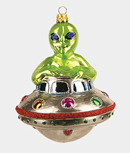 Green Alien Riding UFO Spaceship Polish Glass Christmas Tree Ornament Decoration