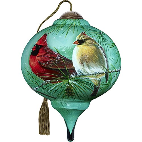 Precious Moments, Ne'Qwa Art 7171165 Hand Painted Blown Glass Petite Marquis Shaped Cardinals & White Pine Ornament, 3-inches