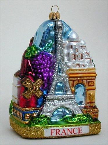 France Landscape Polish Mouth Blown Glass Christmas Ornament Paris Decoration
