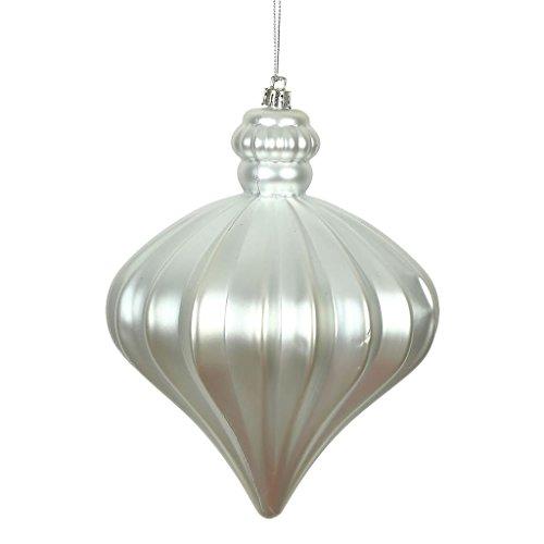 Vickerman 478431 – 6″ Silver Matte Onion Drop Christmas Tree Ornament (4 pack) (N175807D)