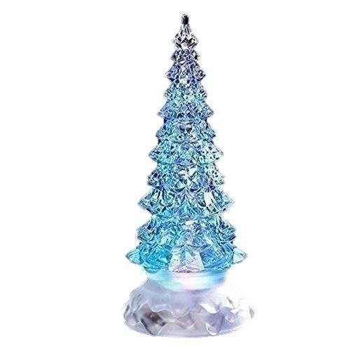 Roman Inc. 8.5″ LED Swirl Glitter Snowglobe Pine Tree Tricolor Lights