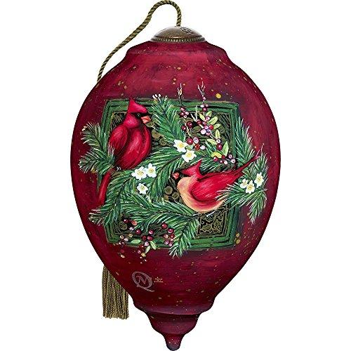 Precious Moments, Ne'Qwa Art 7171156 Hand Painted Blown Glass Standard Princess Shaped Cardinals Ornament, 5.5-inches