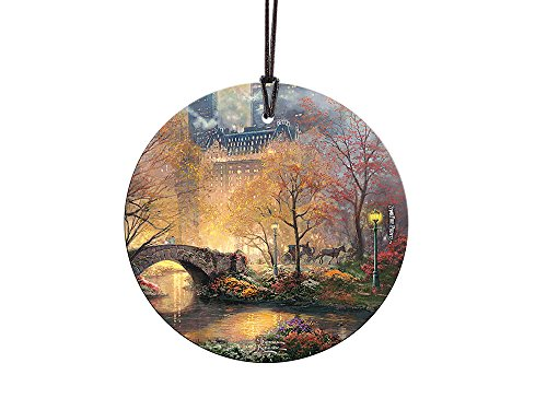 Thomas Kinkade Central Park In The Fall StarFire Prints Glass Ornament – Home and Christmas Tree Decoration