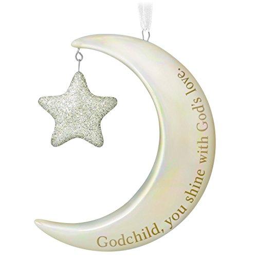 Hallmark Keepsake 2017 Godchild, You Shine Moon and Stars Porcelain Dated Christmas Ornament