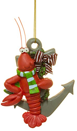 Lobster wearing scarf with Anchor Nautical Christmas Ornament