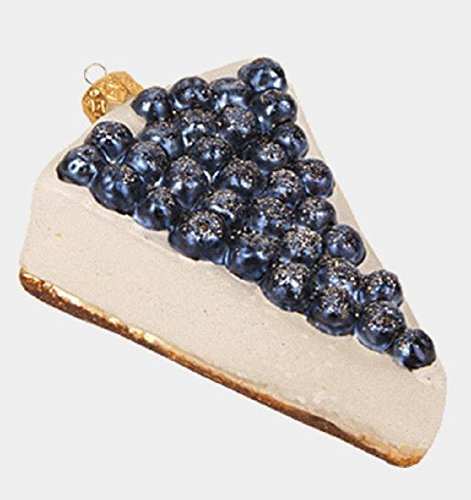 Blueberry Cheesecake Slice Polish Glass Christmas Tree Ornament Dessert Food