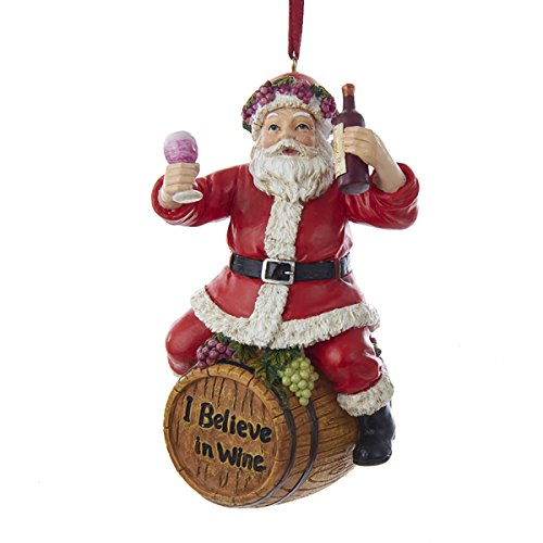 Kurt Adler 4.5″ Wine Santa Sitting On Barrel