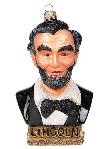 President Abraham Lincoln Bust Polish Glass Christmas Ornament Tree Decoration