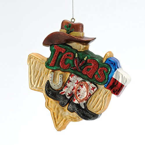 Kurt Adler Painted Glass Texas Hanging Tree Ornament