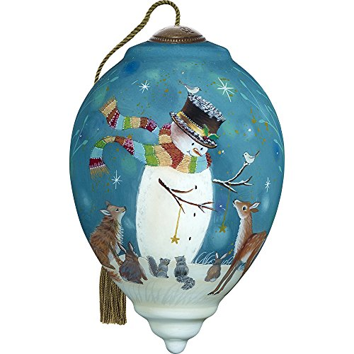 Precious Moments, Ne'Qwa Art 7171131 Hand Painted Blown Glass Standard Princess Shaped Snowman and Friends Ornament, 5.5-inches