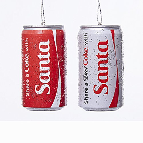 Kurt Adler 1 Set 2 Assorted Share A Coke And Diet Coke With Santa 3 Inch Christmas Ornaments