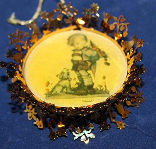 Hummel Gold Christmas Ornament Collection – Not For You – Boy Dropping Cherries with Dog