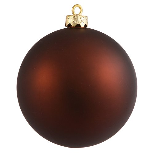 Vickerman Matte Finish Seamless Shatterproof Christmas Ball Ornament, UV Resistant with Drilled Cap, 6 per Bag, 4″, Mocha