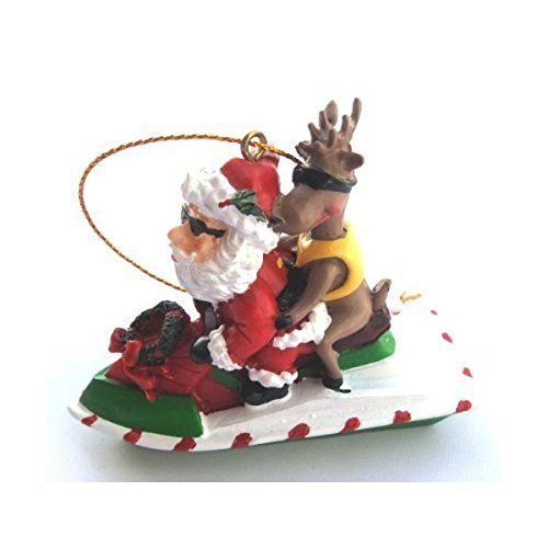 Christmas Ornament Santa Riding a Jet Ski with a Reindeer by Beachcombers