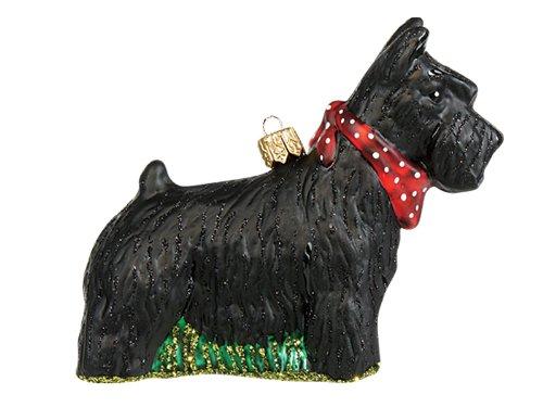 Scottish Terrier Dog Polish Blown Glass Christmas Ornament Scottie Decoration