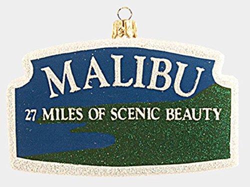 Malibu California Sign Polish Glass Christmas Ornament Decoration Made in Poland