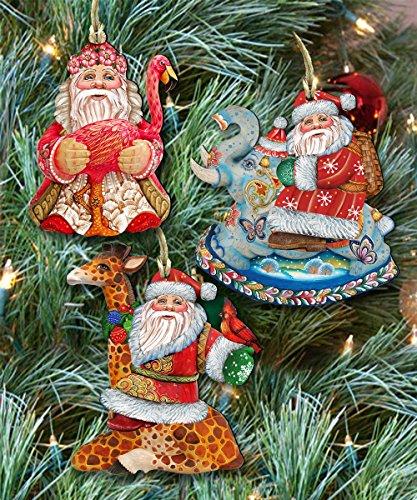 G.DeBrekht's Safari Santa Holidays Christmas Keepsake Wooden Ornaments Set of 3