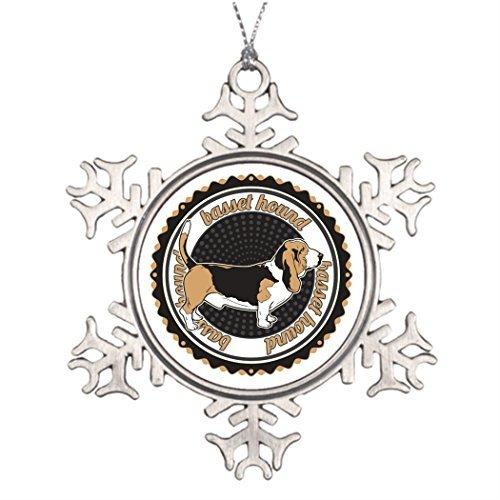 Metal Ornaments Tree Branch Decoration Basset Hound Monogram Snowflake Ornaments