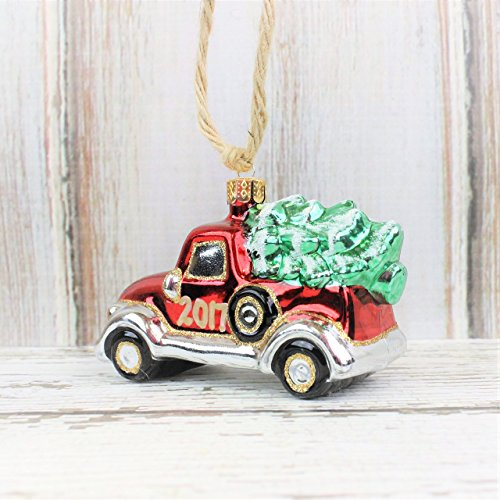 Bringing Home The Tree – Rustic Christmas Ornament – Vintage Red Truck with Christmas Tree – Farmhouse Style Ornament