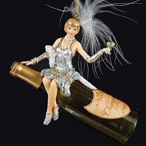 Champagne Bottle w Art Deco Flapper Girl Ornament T1442-A Kurt Adler