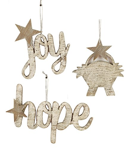 Hope Joy Manger Distressed Silver Glitter 4 x 6 Wood Christmas Ornament Set of 3