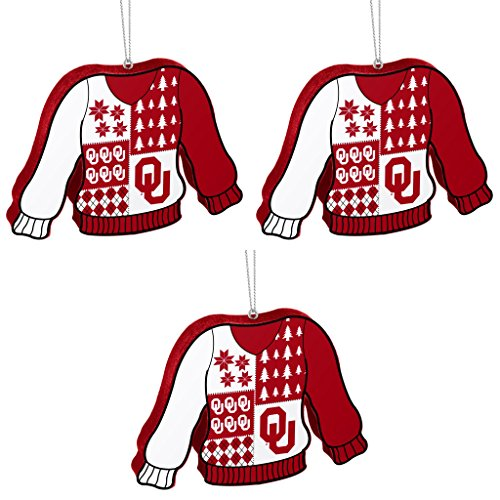 NCAA Oklahoma Sooners Foam Ugly Sweater Christmas Ornament Bundle 3 Pack By Forever Collectibles