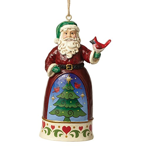 Jim Shore for Enesco Jim Shore Heartwood Creek by Enesco Santa/Cardinal Min Ornament 3.875 In