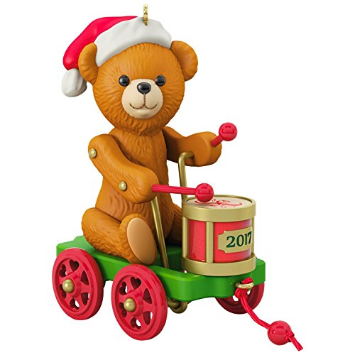 Hallmark Keepsake 2017 Santa Certified Toy Bear and Toy Drum Pull Toy Christmas Ornament